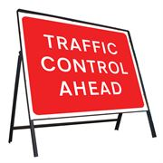 Traffic Control Ahead Riveted Metal Road Sign - 1050 x 750mm