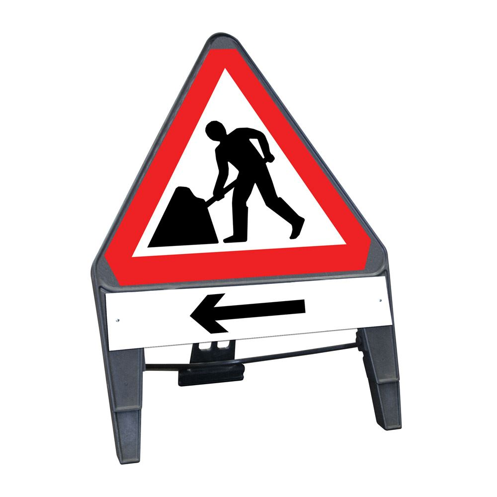 CuStack Men at Work Roadworks Triangular Sign with Arrow Left Supplement Plate - 750mm