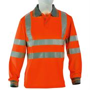 Rail Hi Vis Class 2 Long Sleeve Orange Polo Shirt
