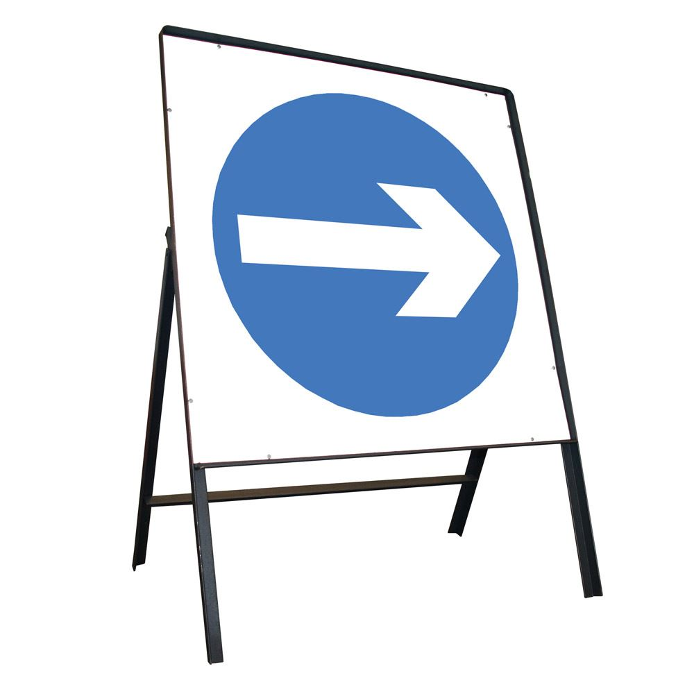Turn Right Riveted Square Metal Road Sign - 750mm