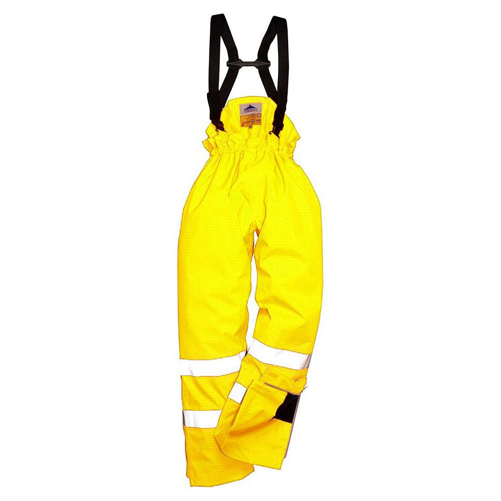 Flame Retardant Anti Static Waterproof Breathable Hi Vis Class 1 Unlined Yellow Bib and Brace
