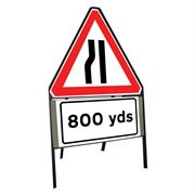 Road Narrows Nearside Riveted Triangular Metal Road Sign with 800 Yards Supplement Plate - 900mm