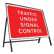 Traffic Under Signal Control Riveted Metal Road Sign - 1050 x 750mm
