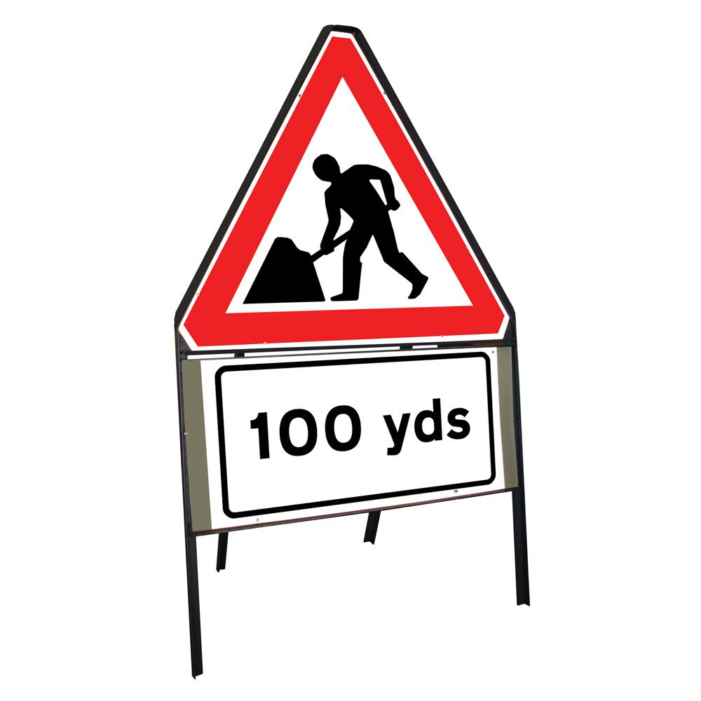 Men at Work Roadworks Riveted Triangular Metal Road Sign with 100 Yards Supplement Plate - 900mm