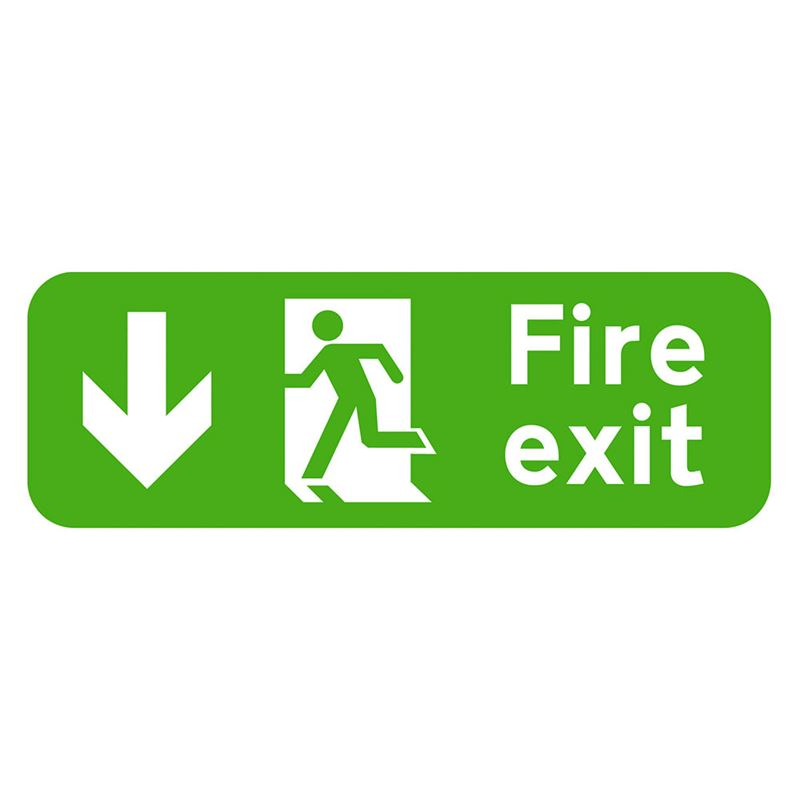 Fire Exit Arrow Down Sign - 600 x 200 x 1mm