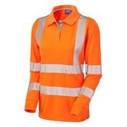 Leo Pollyfield Ladies' Rail Hi Vis Long Sleeve Orange Polo Shirt