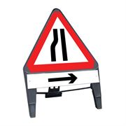 CuStack Road Narrows Nearside Triangular Sign with Arrow Right Supplement Plate - 750mm
