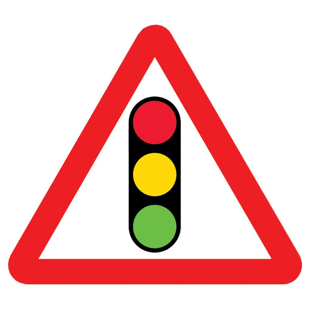 Traffic Signals Triangular Metal Road Sign Plate - 900mm