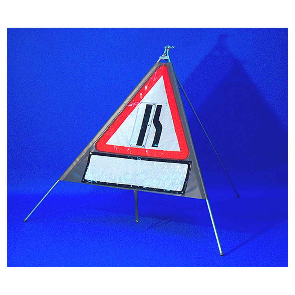 Classic Road Narrows Offside Triangular Roll Up Road Sign with Supplement Plate - 750mm