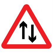Two Way Traffic Triangular Metal Road Sign Plate - 750mm