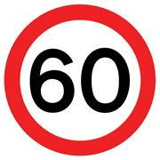 60 mph Circular Metal Road Sign Plate - 750mm