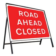 Road Ahead Closed Riveted Metal Road Sign - 1050 x 750mm
