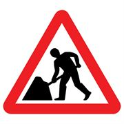 Men at Work Roadworks Triangular Metal Road Sign Plate - 750mm