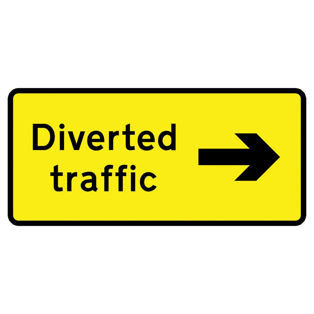 Diverted Traffic Right Metal Road Sign Plate - 1050 x 450mm