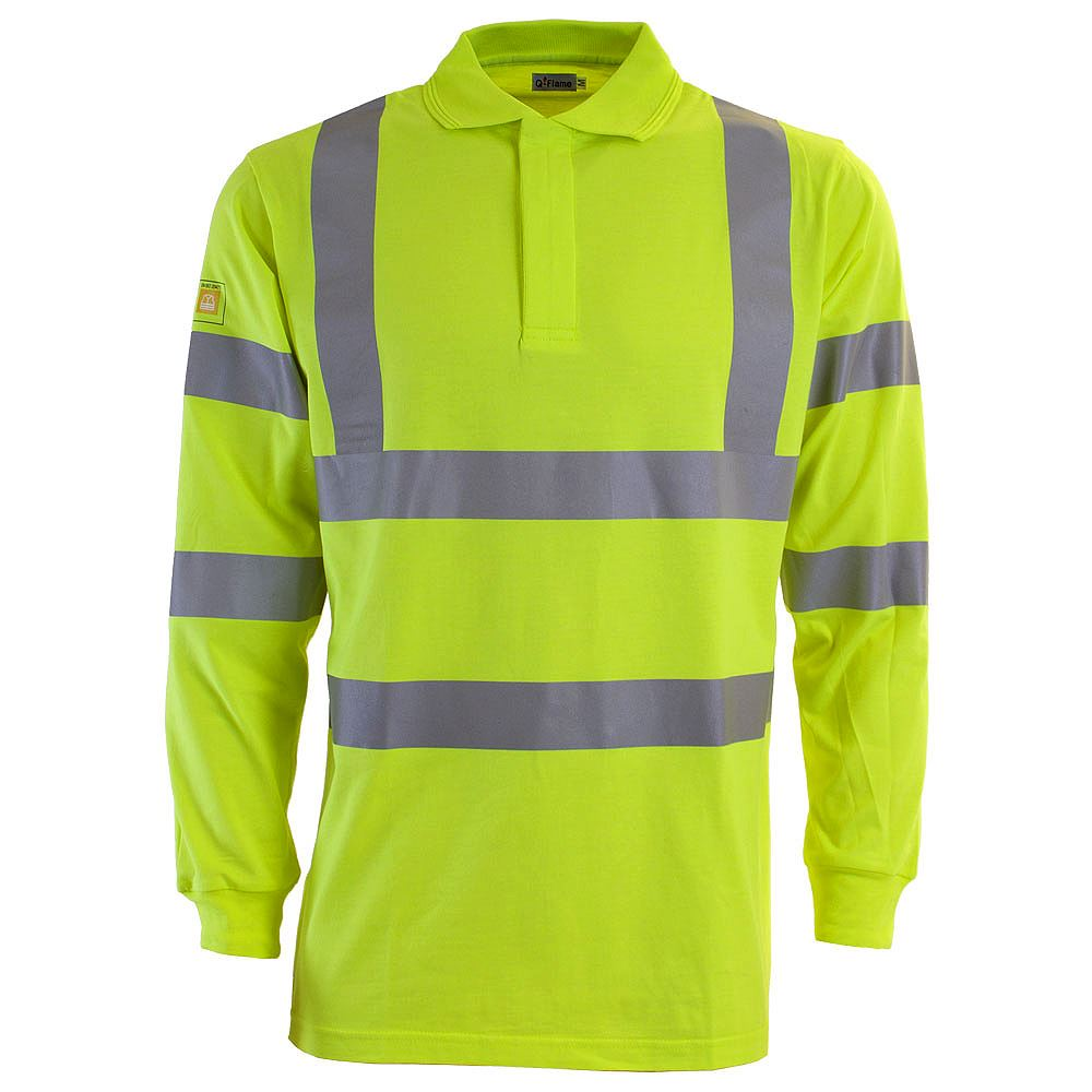 Q-Flame Flame Retardant Anti Static Hi Vis Long Sleeve Yellow Polo Shirt - 200gsm