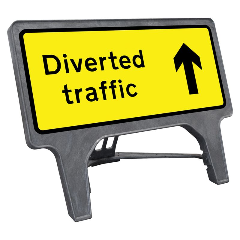 CuStack Diverted Traffic Ahead Sign - 1050 x 450mm