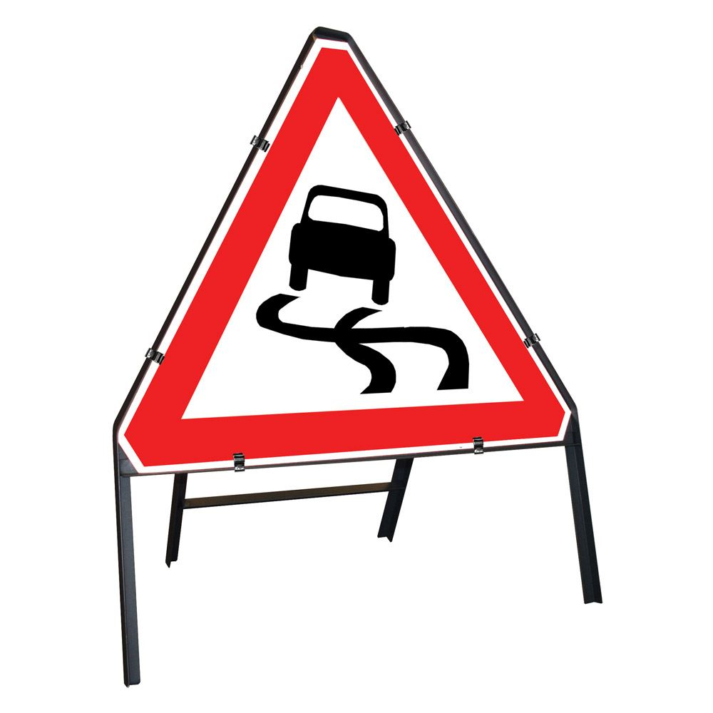 Slippery Road Clipped Triangular Metal Road Sign - 750mm