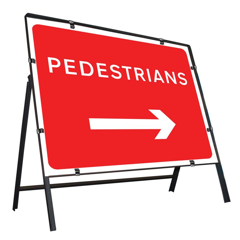 Pedestrians Right Clipped Metal Road Sign - 600 x 450mm