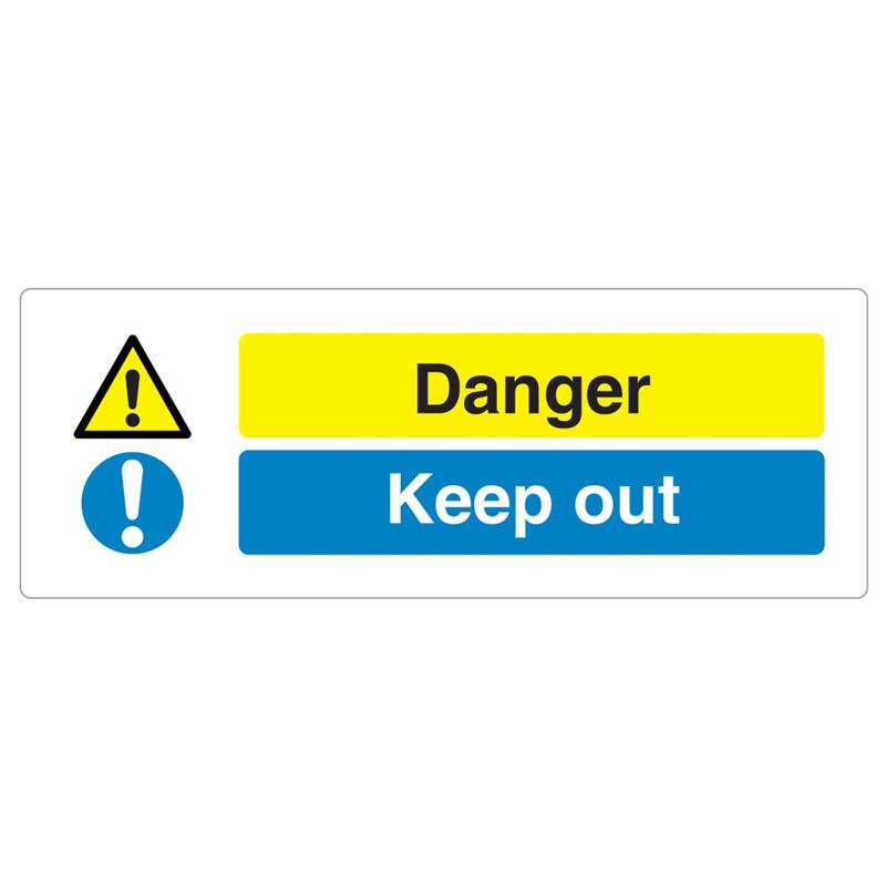 Danger, Keep Out Sign - 600 x 200 x 1mm