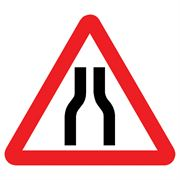 'Road Narrows Both Sides' Triangular Metal Road Sign Plate - 900mm