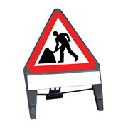 CuStack Men at Work Roadworks Triangular Sign with Supplement Plate - 750mm
