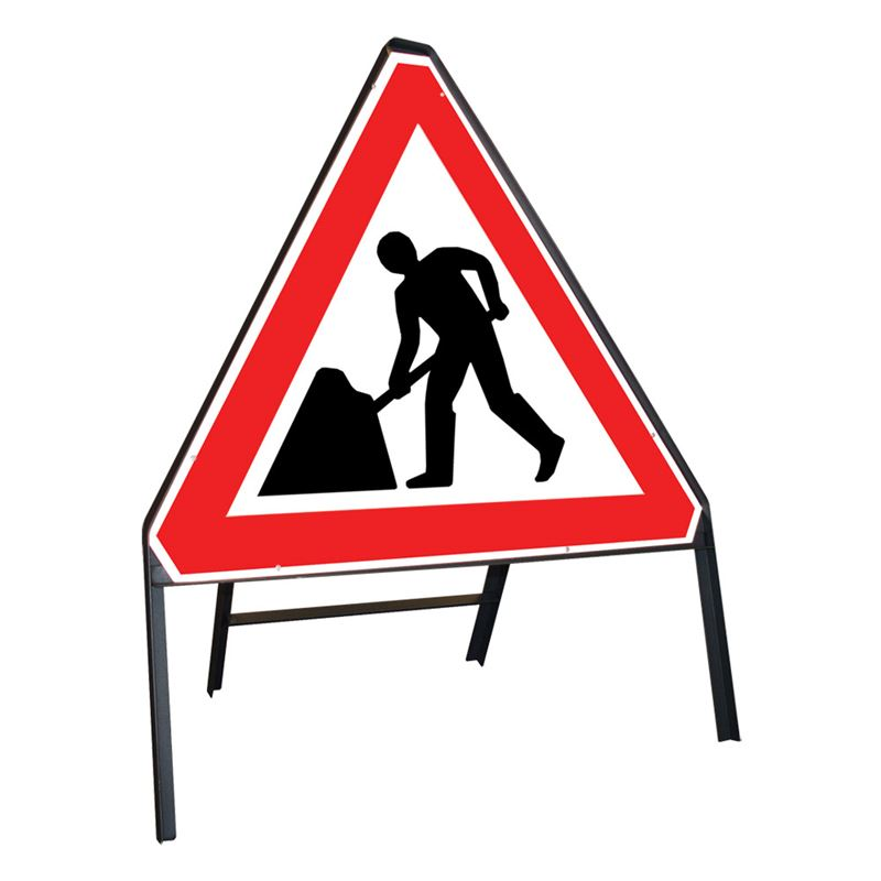 Men at Work Roadworks Riveted Triangular Metal Road Sign - 750mm