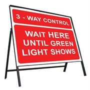 3 Way Control, Wait Here Until Green Light Shows Riveted Metal Road Sign - 1050 x 750mm