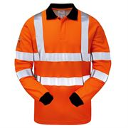 Pulsarail Rail Flame Retardant Anti Static Arc Hi Vis Class 3 Long Sleeve Orange Polo Shirt