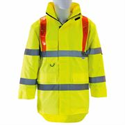 Waterproof Hi Vis Class 3 Highway Red Braced Yellow Executive Anorak