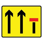 Lane Closure 3 Lanes Metal Road Sign Plate - 1375 x 1175mm