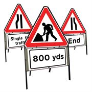 Clipped Triangular Metal Road Signs with Supplement Plates - 750mm