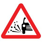 Loose Chippings Triangular Metal Road Sign Plate - 600mm