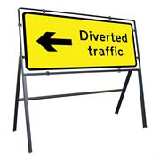Diverted Traffic Left Clipped Metal Road Sign - 1050 x 450mm