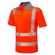 Leo Woolacombe Rail Hi Vis Class 2 Short Sleeve Orange Polo Shirt