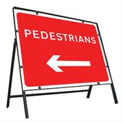Pedestrians Left Clipped Metal Road Sign - 600 x 450mm