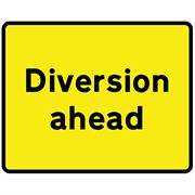 Diversion Ahead Metal Road Sign Plate - 1050 x 750mm