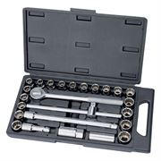 Draper 25 Piece Metric / AF Socket Set - 1/2 inch Square Drive