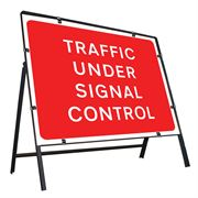 Traffic Under Signal Control Clipped Metal Road Sign - 1050 x 750mm