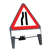 CuStack Road Narrows Nearside Triangular Sign with Supplement Plate - 750mm