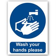 Wash Your Hands Please Self Adhesive Vinyl - 150mm x 200mm