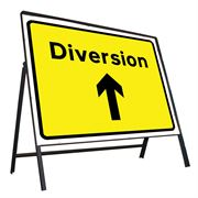 Diversion Ahead Riveted Metal Road Sign - 1050 x 750mm