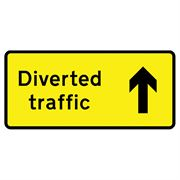 Diverted Traffic Ahead Metal Road Sign Plate - 1050 x 450mm