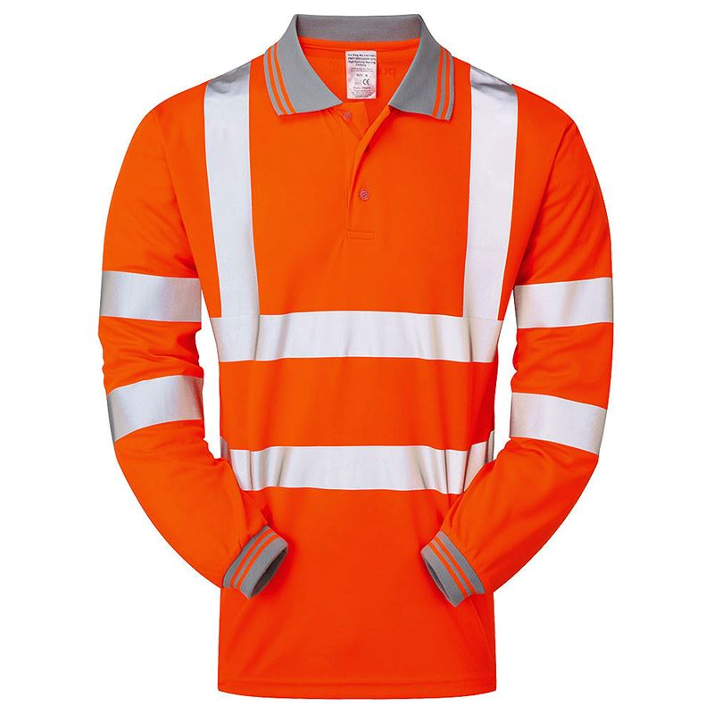 Pulsarail Rail Hi Vis Class 3 Long Sleeve Orange Polo Shirt