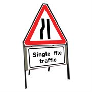 Road Narrows Nearside Riveted Triangular Metal Road Sign with Single File Traffic Supplement Plate - 750mm