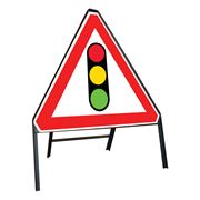 Traffic Signals Riveted Triangular Metal Road Sign - 750mm