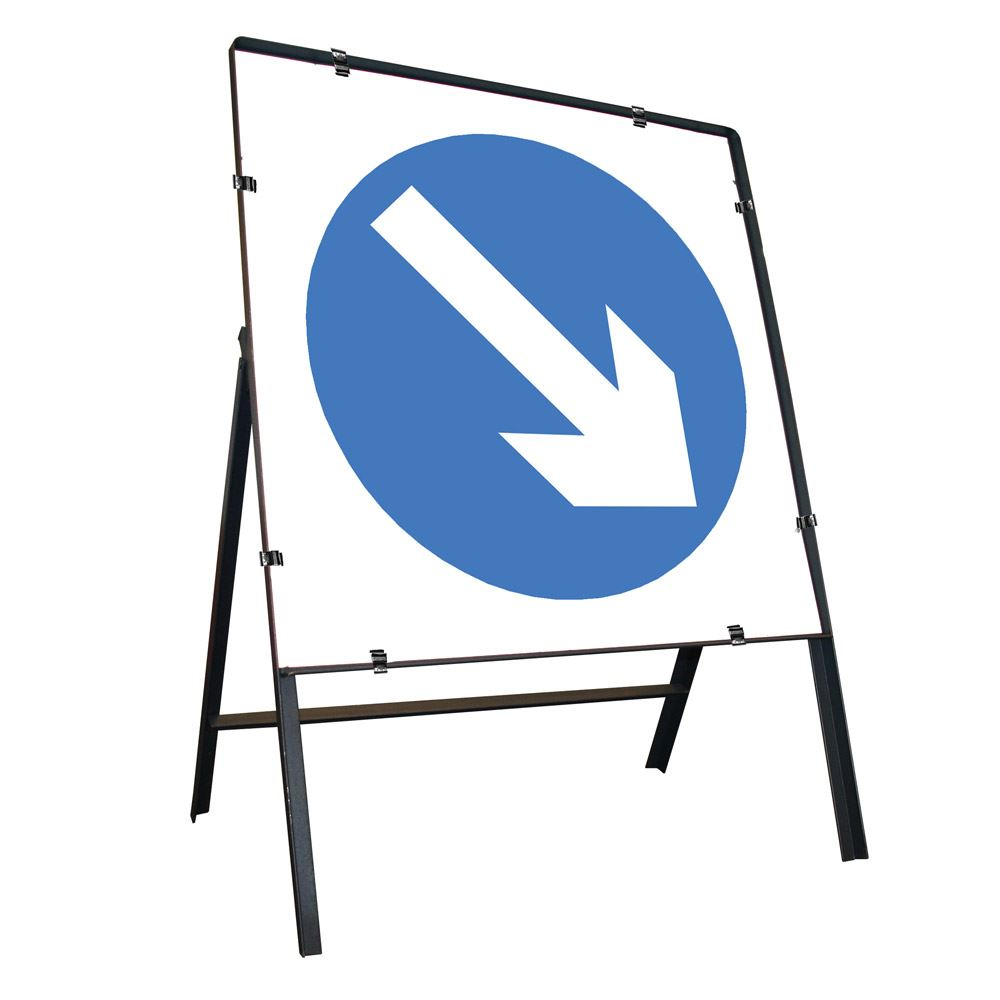 Keep Right Clipped Square Metal Road Sign - 750mm