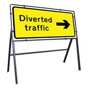 Diverted Traffic Right Clipped Metal Road Sign - 1050 x 450mm