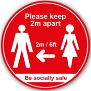 Please Keep 2m Apart Anti Slip Floor Graphic - 200mm