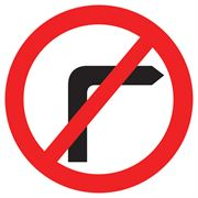 No Right Turn Circular Metal Road Sign Plate - 600mm