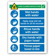 Hand Cleaning Instructions PVC Sign - 450mm x 600mm x 1mm